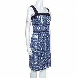 Tory Burch Blue Guipure Lace Sleeveless Margaux Dresses L 254740