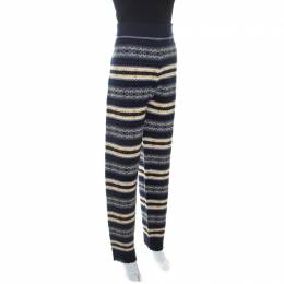 Joseph Navy Blue Wool Fair Isle Knit Pants L 255294
