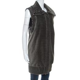 Diane Von Furstenberg Grey Velvet Zip Front Vest L 255290