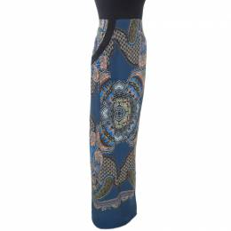 Etro Blue Abstract Print Silk Maxi Skirt M 255299