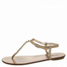 Jimmy Choo Metallic Gold Suede Nox Crystal T Strap Thong Flats Sandals Size 39.5 255346
