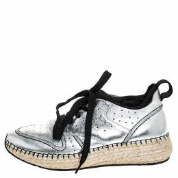 Tod's Metallic Silver Leather Espadrille Low Top Sneakers Size 35.5 254818