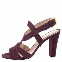 Sergio Rossi Burgundy Suede Ankle Strap Sandals Size 40 254507
