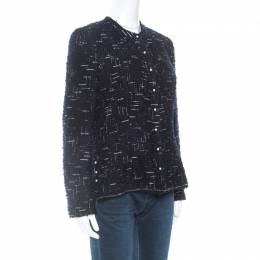 Chanel Navy Blue Metallic Tweed Pearl Embellished Jacket L 254809