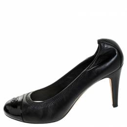 Chanel Black Leather CC Cap Toe Scrunch Pumps Size 41.5 254931