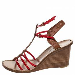 Louis Vuitton Brown Monogram Embossed Leather And Red Patent Strappy Wedge Sandals Size 40 254691