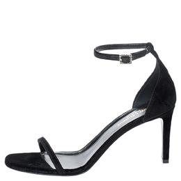 Saint Laurent Black Suede Jane Ankle Strap Sandals Size 39.5 254692