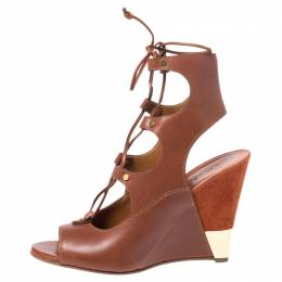 Chloe Brown Leather Eliza Ankle Wrap Wedge Sandals Size 40 254696