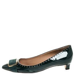 Salvatore Ferragamo Green Patent Leather Grommet Lilas Buckle Pumps Size 41 255560