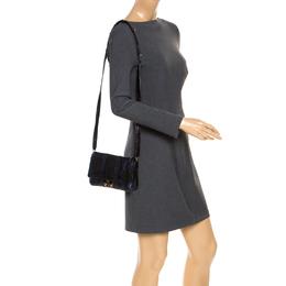 Anya Hindmarch Blue/Black Textured Stripe Leather Flap Crossbody Bag 253920
