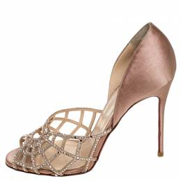 Christian Louboutin Beige Satin And Leather Crystal Embellished Spiderweb Sandals 39.5 255177