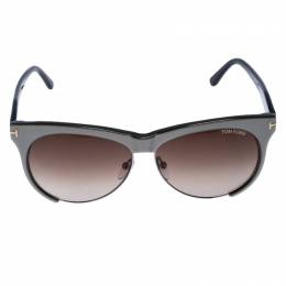 Tom Ford Ice Grey / Brown Gradient TF 365 Leona Cat Eye Sunglasses 254773