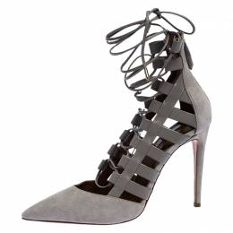 Aquazurra Grey Suede and Leather Amazon Cut Out Strappy Pointed Toe Pumps Size 40.5 Aquazzura 254772