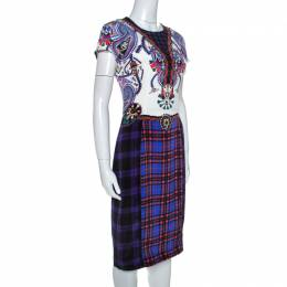 Mary Katrantzou Multicolor Check Printed Stretch Silk Murray Dress M 254776