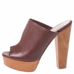 Stella McCartney Brown Faux Leather Wooden Block Heel Platform Mules Size 38 255313