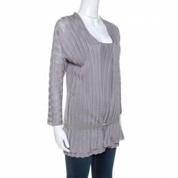 Emporio Armani Grey Crochet Knit Top and Cardigan Set L 254919
