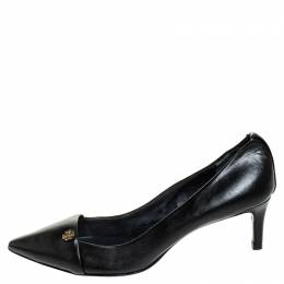 Tory Burch Black Leather Crawford Pointed Toe Pumps Size 36