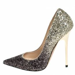 Jimmy Choo Black/White Ombre Coarse Glitter Fabric Romy Pointy Toe Pumps Size 34.5