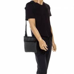 Emporio Armani Grey/Black Coated Canvas Messenger Bag