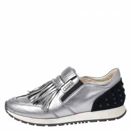 Tod's Metallic Grey Leather Sportivo Fringed Sneakers Size 39 255092