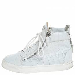 Giuseppe Zanotti Design White Croc Embossed Leather London High Top Sneakers Size 37.5