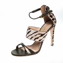 Sergio Rossi Tricolor Pony Hair And Leather Donyale Ankle Strap Sandals Size 39.5 254781