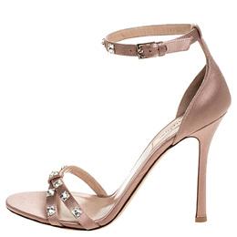 Valentino Pink Satin Crystal Rockstud Glam Ankle Strap Sandals Size 40 254961