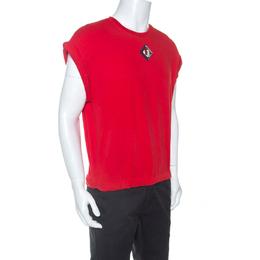 Givenchy Red Cotton Drawstring Hem Detail Short Sleeve T-Shirt S 254965