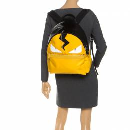 Fendi Yellow/Black Nylon/Leather and Fur Monster Backpack 253789