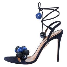Aquazurra Blue Suede and Sequins Disco Thing Ankle Wrap Sandals Size 37.5 Aquazzura 253788