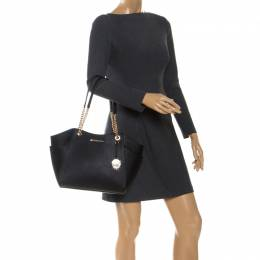 Michael Kors Black Leather Jet Set Travel Chain Shoulder Bag 255200