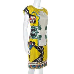 Etro Multicolor Printed Silk Overlay Pleated Detail Midi Dress S 255301