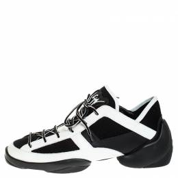 Giuseppe Zanotti Design Black/White Leather And Knit Fabric Light Jump Sneakers Size 43.5