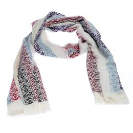 Loewe White Anagram Printed Wool Scarf 255326