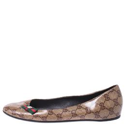 Gucci Beige GG Canvas Web Bow Ballet Flats Size 38 255324