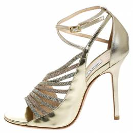Jimmy Choo Gold Asymmetric Mirror Leather and Glitter Lame Fabric Florry Strappy Sandals Size 37 254891