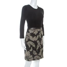 Burberry Brit Black Rib Knit And Floral Jacquard Midi Dress M 255136
