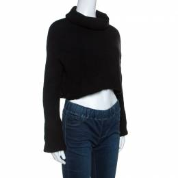 Valentino Black Wool Rib Knit Turtle Neck Cropped Sweater M 255135