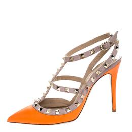 Valentino Orange Leather Rockstud Ankle Strap Cage Sandals Size 37.5 255682