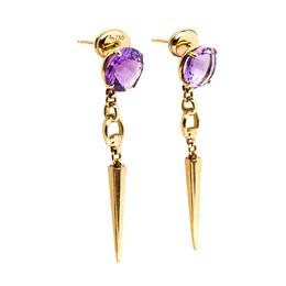 Gucci Horsebit Amethyst 18K Yellow Gold Spike Drop Earrings 255669