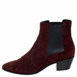 Saint Laurent Paris Burgundy Suede Leather Pointed Toe Ankle Boots Size 40