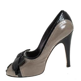 Gianvito Rossi Grey/Black Leather Bow Peep Toe Platform Pumps Size 40 255916