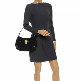 Ralph Lauren Black Canvas and Leather Shoulder Bag 253536
