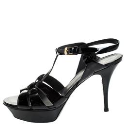 Saint Laurent Black Patent Leather Tribute Platform Sandals Size 40.5 255052