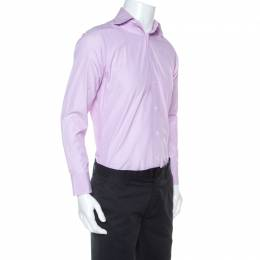 Ermenegildo Zegna Premium Lavender Striped Cotton Button Front Shirt L 254985