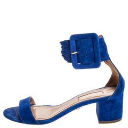 Aquazzura Blue Suede Casablanca Ankle Cuff Block Heel Sandals Size 36 255115
