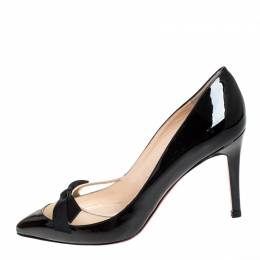 Christian Louboutin Black Patent Leather and Mesh Bow Pointed Toe Pumps Size 36.5 255066