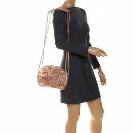 Alexander Wang Metallic Rose Gold Textured Leather Brenda Chain Shoulder Bag 255241