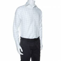 Ermenegildo Zegna Premium White Windowpane Check Cotton Shirt L 254990