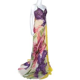 Roberto Cavalli Multicolor Printed Corset Bustier Maxi Dress M 251745